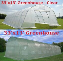 33'x13' Heavy Duty Walk-In Greenhouse with Choice of Clear Cover or Green Cover