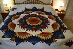NEW Amish Handmade Quilted Broken Twinkling Star Lg QN or King 105x118
