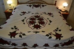 NEW Amish Handmade Appliqued & Hand Quilted Celtic Rose 93x113