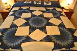 NEW Amish Handmade Quilted Star Burst 108W x 118L