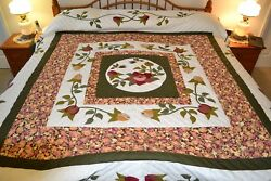 NEW Amish Handmade Quilted & Appliqued Blooms & Borders 113W x 117L