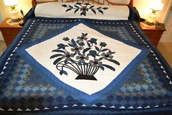 NEW Amish Handmade Quilted & Appliqued Basket In The Commons 103Wx118L