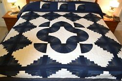 NEW Amish Handmade Quilted  Log Cabin Fan 108W x 116L