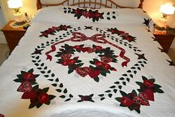 NEW Amish Handmade Quilted & Appliqued Country Love 95W x 111L