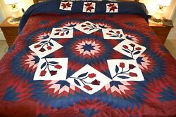 NEW Amish Handmade Quilted & Appliqued Improved Broken Star 106W x 119L