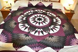 NEW Amish Handmade Quilted Broken Compass Star 109W x 119L