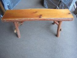 Rustic Log Furniture Bench Cabin Decor Primitive Custom Solid Slab Native Wood