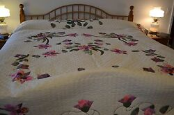 NEW! Amish Handmade Quilted & Appliqued Spring Orchids Lg Queen or King 95x113