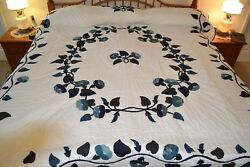 NEW Amish Handmade Quilted & Appliqued Morning Glory 95W x 110L