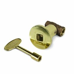 12 Inch Straight Decorative Gas Key Valve Kit with Polished Brass Floor Plate F