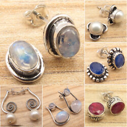 Stud Earrings ! Many Gemstones Many Styles ! 925 Silver Plated Fashion Jewelry