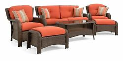 Sawyer 6 Piece Resin Wicker Patio Furniture Conversation Set With All Weather