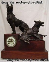 Western Pure Bronze Copper Wood Two Wolf Dog Clock Art Deco Sculpture Statue