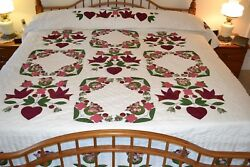 NEW Amish Handmade Quilted&Appliqued Song Bird Garden 101W x112L