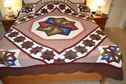 NEW Amish Handmade Quilted Star Spinning 106W x 119L  Inv #299-17