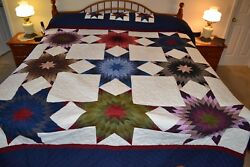 NEW Amish Handmade Quilted Stars Everywhere 109W x 117L