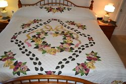 NEW Amish Handmade Quilted Appliqued Country Love 105W x 119L