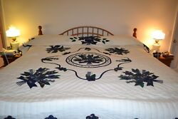 NEW Amish Handmade Quilted Appliqued Rose of Sharon Lg Qn or King 100x115