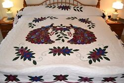 NEW Amish Handmade Quilted  & Appliqued Peacocks 97W x 112L