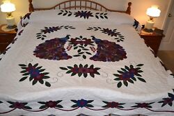 NEW Amish Handmade Quilted  & Appliqued Peacock 95W x 111L
