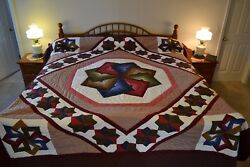 NEW Amish Handmade Quilted Star Spin 108W x 120L
