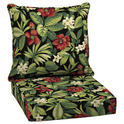 Outdoor Patio High Back Cushion Replacement For Deep Seat Chair Furniture Flower