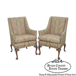 George II Custom Quality Pair of Carved Mahogany Paw Foot Wing Chairs