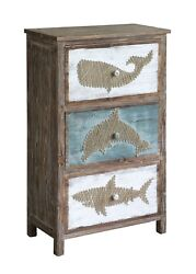 Nantucket Rustic Shark~Dolphin~Whale Nautical Chest of Drawers28'' x 44''H