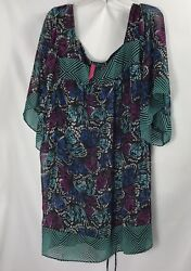 PURE ENERGY Women's PLUS SHEER BLOUSE TOP Summer Size 4X