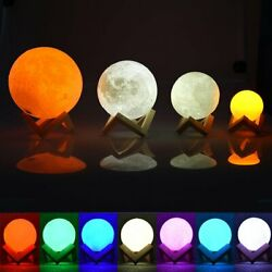 3D Printing  Moon Lamp USB Rechargeable LED Magical Night Light  Moonlight Gift