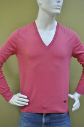 Burberry London Mens Signature Rose Pink V-Neck Sweater Pullover Size Large