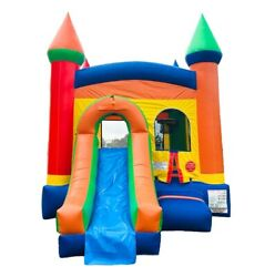Rainbow Inflatable Bounce House Slide Combo With Blower Wet Dry Outdoor Moonwalk $1049.99