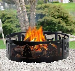 Steel Fire Pit Ring Campfire Backyard Outdoor Camping Large Durable Wilderness