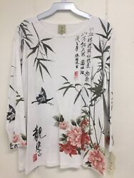 Jess and Jane Calligraphy White Floral Asian 34 Sleeve Shirt Size New with Tags