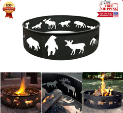 Large Steel Fire Pit Ring Camping Outdoor Heavy Ground Campfire Cooking BBQ Yard