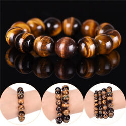 Natural Tiger Eye Stone Lucky Bless Beads Men Woman Jewelry Bracelet Bangle HI