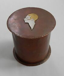 Early Mixed Metals CopperSilverBrass Arts & Crafts-Art Deco BOXCANNISTER.
