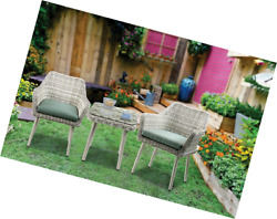 Major-Q 9045005 3Pc Patio Bistro Set in Green Fabric and Beige Wicker with 2 Arm