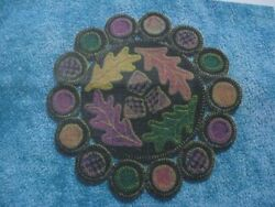 KIT penny rug wool fabric applique OAK LEAVE ACORN PATTERN primitive candle mat