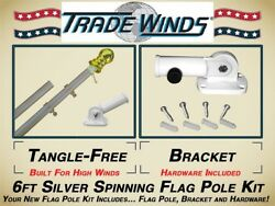 Residential Commercial Outdoor Flag Pole Kit: Tangle Free Pole Bracket Kit