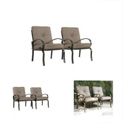 Set Of 2 Club Chairs Outdoor Patio Wrought Iron Dining Garden Furniture Seating