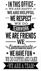 OFFICE RULES TEAMWORK VINYL WALL DECAL QUOTE DECOR STICKERS LETTERING ART WORK $17.70