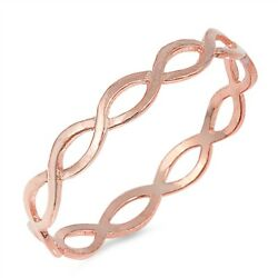 Sterling Silver Rose Gold Plated Braid Ring Sizes 5-10