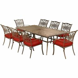 9 Piece Dining Set Large Table 8 Chairs Outdoor Patio Garden Furniture Red