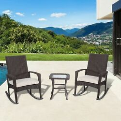 2 Rocking Chairs And Side Table Set Outdoor Patio Garden Rattan Furniture Porch