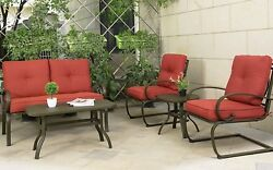 5PC Outdoor Garden Patio Furniture Set Loveseat Chairs Table Iron Frame Cushions