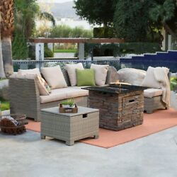 Propane Fire Pit Table Set Outdoor Sofa Sectional Resin Wicker Patio Furniture