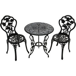 Outdoor Bistro Set Table and Chairs 3-Piece Patio Pool Porch Furniture