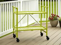 Foldable Metal Rolling Serving Cart Indoor Outdoor Bright Green Home Patio Lawn