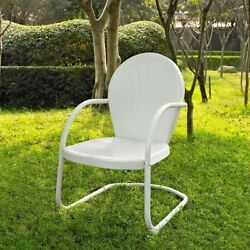 Outdoor Chair Metal Seashell Shaped Sturdy Steel Seat Lawn Patio Furniture White